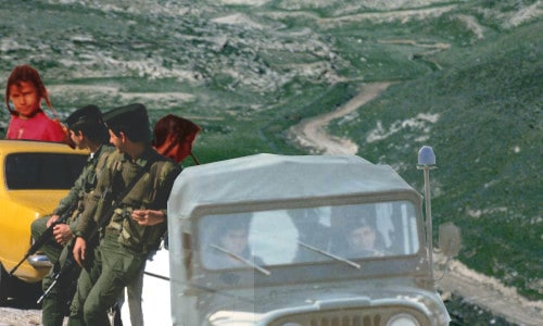 Picture of soldiers, Bedouin girls, military truck, and Judaen desert