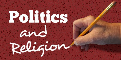 The name politics with a hand writing the following:and religion