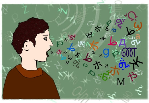 an image of a tongues speaker emitting letters in different languages