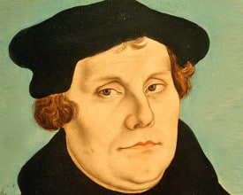 Painting of Martin Luther by Lucas Cranach the Elder (1472--1553)