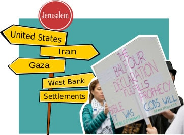 Graphic displaying Christian Zionist slogans
