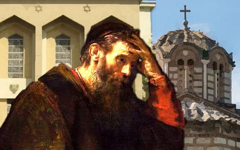 Paul with hand on head with Church on right Synagogue on left
