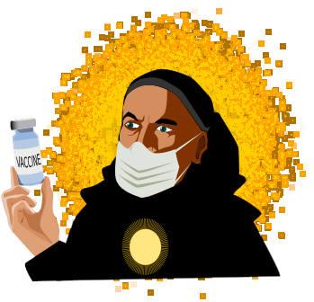 Thomas Aquinas masked and holding a COVID-19 vial